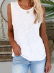 Solid Color O-neck Casual Tank Top