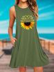 Sleeveless Casual Cotton Sunflower Print Dresses