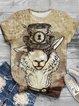 Plus Size Vintage Cotton-Blend Crew Neck Animal Shirts & Tops