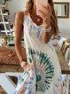 White Sleeveless Ombre/tie-Dye A-Line Cotton Dresses