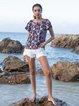 Blue Crew Neck Paneled Boho Floral Shirts & Tops