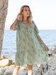 Short Sleeve V Neck Boho Floral Dresses
