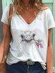 White Short Sleeve Polka Dots Shirts & Tops