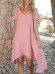 Orange Pink Plain V Neck Short Sleeve Paneled High-Low Dresses