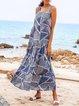 Blue Crew Neck Casual Sleeveless Geometric Dresses