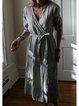 Lace-Up Plain Cotton-Blend Holiday Dresses