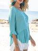 Blue Buttoned Crew Neck 3/4 Sleeve Plain Ruffled Shirts & Tops