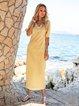 Pink-Yellow Half Sleeve Floral-Print Floral V Neck Maxi Dresses