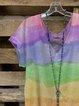 Color V Neck Casual Cotton-Blend Shirts & Top