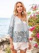 Lightblue Floral Crew Neck Boho Floral-Print Shirts & Tops