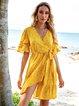 Pink-Yellow Geometric Ruffled Boho V Neck Mini Dresses