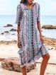 Lightgreen Half Sleeve Paneled V Neck Shift Dresses