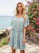 Blue V Neck Floral-Print Holiday Geometric Mini Dresses