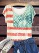 American Flag Printed Bat Sleeve T-Shirt