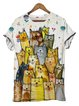 Beige Cat Printed Casual Short Sleeve Shirt