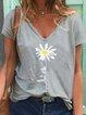 Gray Casual Short Sleeve Floral Shirts & Tops
