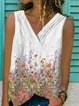 White Casual Floral-Print Floral V Neck Shirts & Tops
