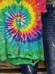 Color Short Sleeve Cotton-Blend V Neck Shirts & Top