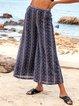 Deep Blue Floral Floral-Print Casual Pants
