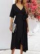 Black Cotton Solid Holiday V Neck Dresses