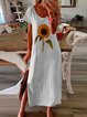 Vintage Boho Sunflower Printed Plus Size Short Sleeve Crew Neck Casual Dresses