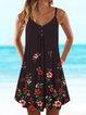 Black Cotton-Blend Buttoned Sleeveless Dresses