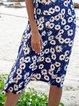 Navy Blue Floral-Print Boho Skirts