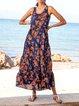 Light Orange Gathered Floral Swing Boho Maxi Dresses