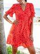 Orange Red Short Sleeve A-Line Geometric Dresses
