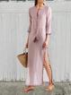 Pink Shift V Neck Casual Polka Dots Dresses