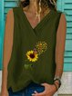 Floral Sleeveless V Neck Casual Shirts & Tops