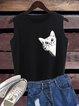 Black Animal Sleeveless Casual Shirts & Tops