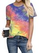 Women Rainbow Tie Dye Shift Shirts & Tops