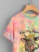 Color Crew Neck Short Sleeve Cotton-Blend Shirts & Top