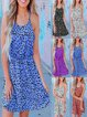 Vintage Leopard Printed Plus Size Sleeveless Crew Neck Casual Dresses