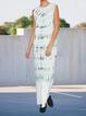 Cotton-Blend Casual Shift Crew Neck Dresses