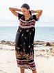 Black Cotton-Blend Boho Dresses