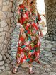 Red Fringed 3/4 Sleeve Shift Floral Maxi Dresses
