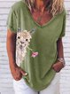Plus Size Casual Short Sleeve Cotton-Blend Shirts & Tops