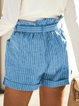 Striped cotton and linen casual shorts