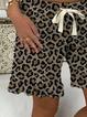 Leopard Cotton-blend Casual Pants