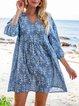 Blue Boho 3/4 Sleeve A-Line Dresses