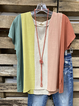 Multicolor V Neck Short Sleeve Linen Shirt & Top