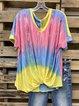 Color V Neck Short Sleeve Shirt & Top