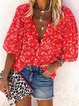 Red Floral-Print Animal Half Sleeve Shirts & Tops