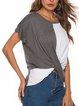 Plain Short Sleeve Casual Shirts & Tops