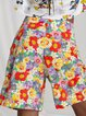 Floral Pleated Denim Cotton Hight Wasist Colorful Bermuda Shorts