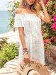 Blue Floral Short Sleeve Floral-Print Off Shoulder Mini Dresses