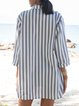 Gray Shawl Collar Casual Pockets Striped Dresses