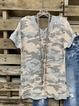 Green V Neck Cotton Casual Shirts & Tops